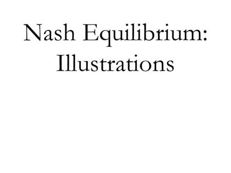 Nash Equilibrium: Illustrations. Cournot's Model of Oligopoly Single good produced by n firms Cost to firm i of producing q i units: C i (q i ), where.