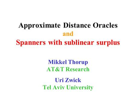Approximate Distance Oracles and Spanners with sublinear surplus Mikkel Thorup AT&T Research Uri Zwick Tel Aviv University.