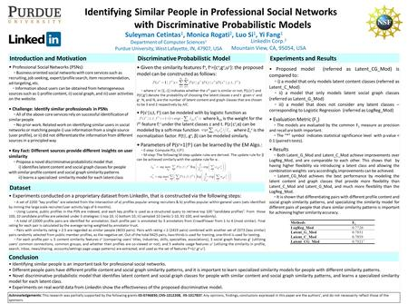 Suleyman Cetintas 1, Monica Rogati 2, Luo Si 1, Yi Fang 1 Identifying Similar People in Professional Social Networks with Discriminative Probabilistic.