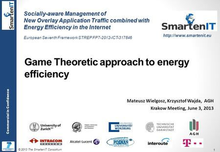 © 2013 The SmartenIT Consortium 1 Commercial in Confidence Game Theoretic approach to energy efficiency Mateusz Wielgosz, Krzysztof Wajda, AGH Krakow Meeting,