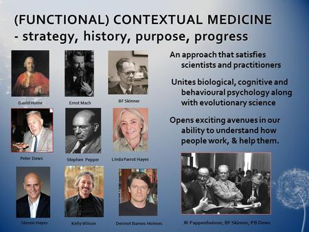 (FUNCTIONAL) CONTEXTUAL MEDICINE - strategy, history, purpose, progress An approach that satisfies scientists and practitioners Unites biological, cognitive.