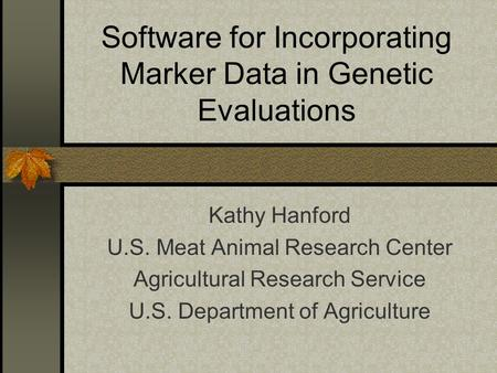 Software for Incorporating Marker Data in Genetic Evaluations Kathy Hanford U.S. Meat Animal Research Center Agricultural Research Service U.S. Department.