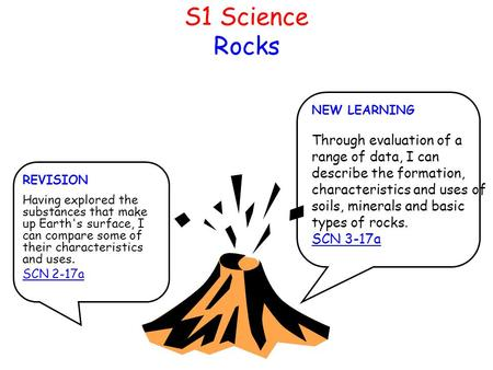 S1 Science Rocks NEW LEARNING