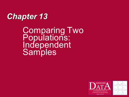 Chapter 13 Comparing Two Populations: Independent Samples.