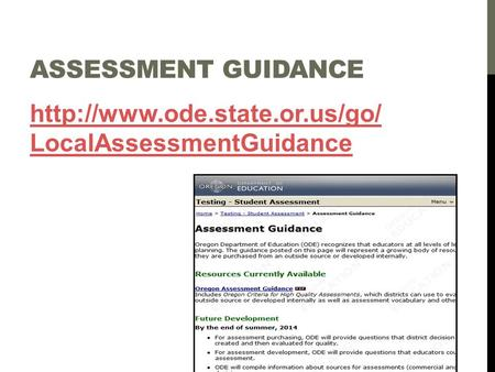 ASSESSMENT GUIDANCE  LocalAssessmentGuidance.