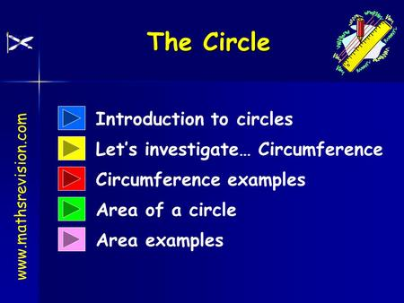 Introduction to circles Area examples Let's investigate… Circumference Circumference examples Area of a circle The Circle www.mathsrevision.com.