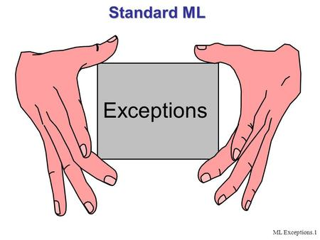 ML Exceptions.1 Standard ML Exceptions. ML Exceptions.2 Exceptions – The Need  An extensive part of the code is error handling  A function can return.