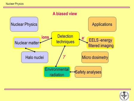 g A biased view Nuclear Physics Applications Detection techniques ions