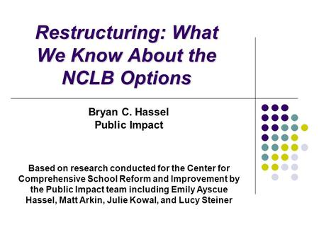 Restructuring: What We Know About the NCLB Options Bryan C. Hassel Public Impact Based on research conducted for the Center for Comprehensive School Reform.