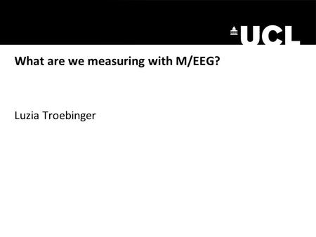 What are we measuring with M/EEG? Luzia Troebinger.