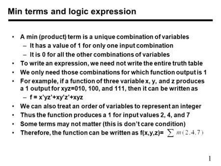 Min terms and logic expression