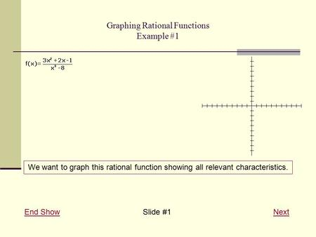 Graphing Rational Functions Example #1 End ShowEnd ShowSlide #1 NextNext We want to graph this rational function showing all relevant characteristics.