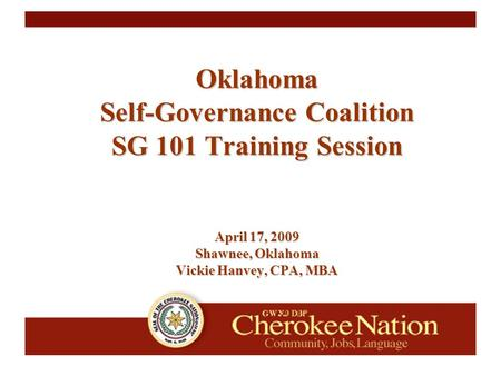 Oklahoma Self-Governance Coalition SG 101 Training Session April 17, 2009 Shawnee, Oklahoma Vickie Hanvey, CPA, MBA.