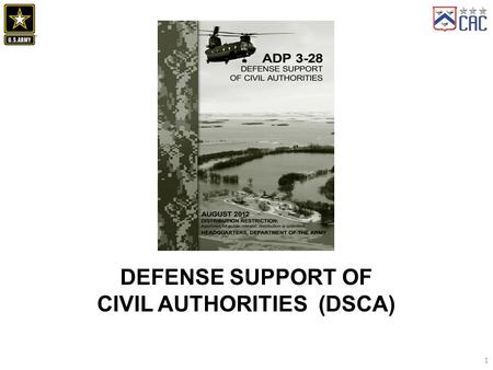 1 DEFENSE SUPPORT OF CIVIL AUTHORITIES (DSCA). Definition of DSCA Primary Purposes of DSCA All-of-Nation approach Primary Characteristics of DSCA Organization.