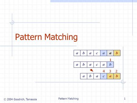 © 2004 Goodrich, Tamassia Pattern Matching1. © 2004 Goodrich, Tamassia Pattern Matching2 Strings A string is a sequence of characters Examples of strings: