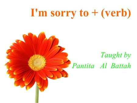 I'm sorry to + (verb) Taught by Pantita Al Battah.