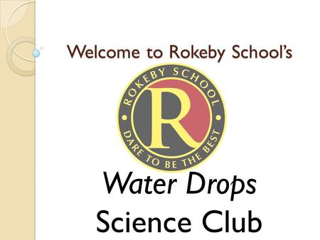 Welcome to Rokeby School's Water Drops Science Club.