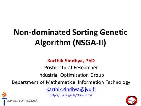Non-dominated Sorting Genetic Algorithm (NSGA-II)