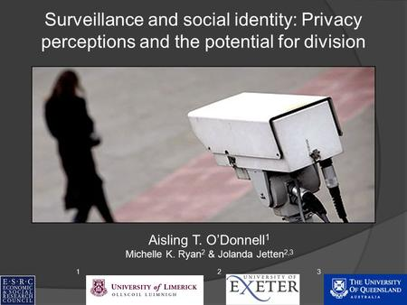 Surveillance and social identity: Privacy perceptions and the potential for division Aisling T. O'Donnell 1 Michelle K. Ryan 2 & Jolanda Jetten 2,3 123.