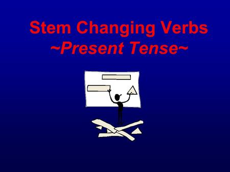 Stem Changing Verbs ~Present Tense~. Review *Remember = To conjugate most verbs in the present tense you simply take off the last two letters and add.