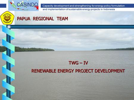 TWG – IV RENEWABLE ENERGY PROJECT DEVELOPMENT PAPUA REGIONAL TEAM.