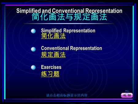 Simplified Representation Simplified Representation 简化画法 Conventional Representation Conventional Representation 规定画法 Exercises 练习题 Simplified and Conventional.