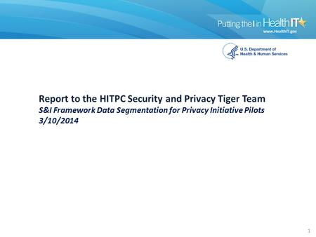Report to the HITPC Security and Privacy Tiger Team S&I Framework Data Segmentation for Privacy Initiative Pilots 3/10/2014 1.