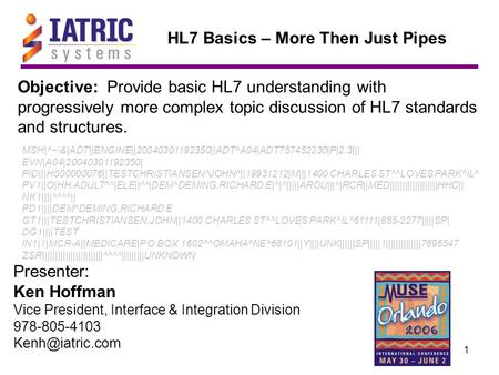 1 Objective: Provide basic HL7 understanding with progressively more complex topic discussion of HL7 standards and structures. Presenter: Ken Hoffman Vice.