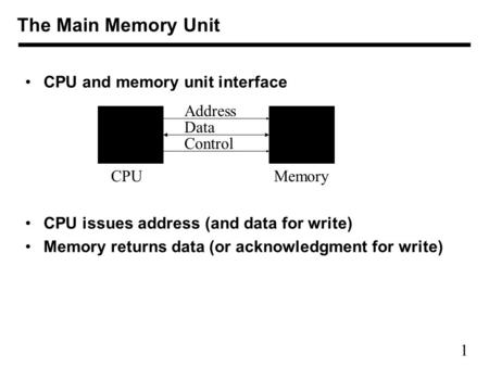 1 CPU and memory unit interface CPU issues address (and data for write) Memory returns data (or acknowledgment for write) The Main Memory Unit Address.