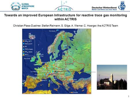1 Towards an improved European Infrastructure for reactive trace gas monitoring within ACTRIS Christian Plass-Duelmer, Stefan Reimann, S. Gilge, A. Werner,