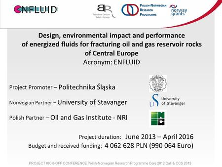 Design, environmental impact and performance of energized fluids for fracturing oil and gas reservoir rocks of Central Europe Acronym: ENFLUID Project.