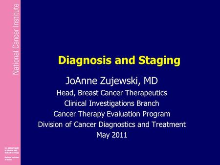 Diagnosis and Staging JoAnne Zujewski, MD Head, Breast Cancer Therapeutics Clinical Investigations Branch Cancer Therapy Evaluation Program Division of.
