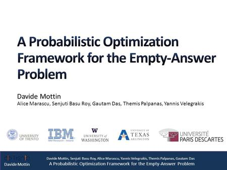 Davide Mottin, Senjuti Basu Roy, Alice Marascu, Yannis Velegrakis, Themis Palpanas, Gautam Das A Probabilistic Optimization Framework for the Empty-Answer.