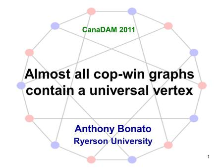1 Almost all cop-win graphs contain a universal vertex Anthony Bonato Ryerson University CanaDAM 2011.