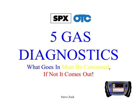 5 GAS DIAGNOSTICS What Goes In Must Be Consumed, If Not It Comes Out! Steve Zack.