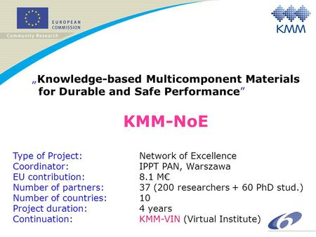 "KMM-NoE ""Knowledge-based Multicomponent Materials for Durable and Safe Performance"" Type of Project: Network of Excellence Coordinator:IPPT PAN, Warszawa."