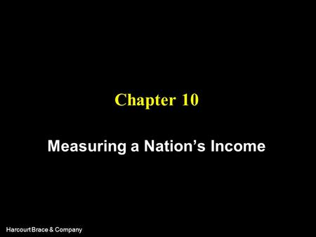 Harcourt Brace & Company Chapter 10 Measuring a Nation's Income.