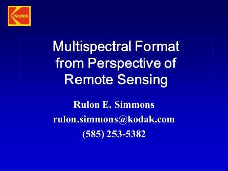 Multispectral Format from Perspective of Remote Sensing
