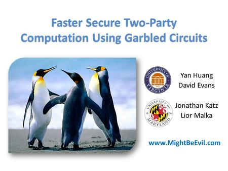 Yan Huang David Evans Jonathan Katz Lior Malka Faster Secure Two-Party Computation Using Garbled Circuits www.MightBeEvil.com.