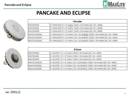 ENERGY EFFICIENT LIGHTING PANCAKE AND ECLIPSE ver. 050112 Pancake and Eclipse.1.1 Pancake SKP17DLED30P = PANCAKE/ 17 = 17 Watts / DLED = Dimmable LED /