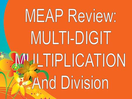 MEAP Review: MULTI-DIGIT MULTIPLICATION And Division.