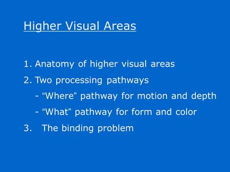 "Higher Visual Areas 1.Anatomy of higher visual areas 2.Two processing pathways - "" Where "" pathway for motion and depth - "" What "" pathway for form and."