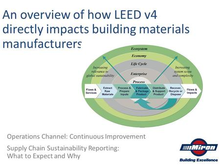 An overview of how LEED v4 directly impacts building materials manufacturers Operations Channel: Continuous Improvement Supply Chain Sustainability Reporting: