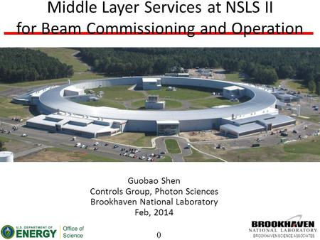 0 BROOKHAVEN SCIENCE ASSOCIATES Middle Layer Services at NSLS II for Beam Commissioning and Operation Guobao Shen Controls Group, Photon Sciences Brookhaven.