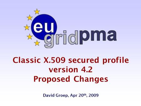 Classic X.509 secured profile version 4.2 Proposed Changes David Groep, Apr 20 th, 2009.