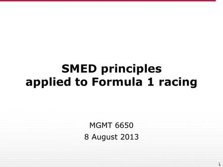 SMED principles applied to Formula 1 racing