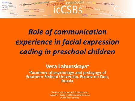 Role of communication experience in facial expression coding in preschool children Vera Labunskaya a a Academy of psychology and pedagogy of Southern Federal.