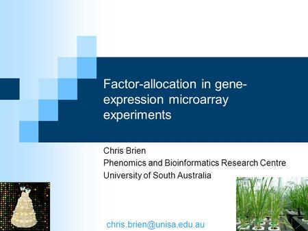 Factor-allocation in gene- expression microarray experiments Chris Brien Phenomics and Bioinformatics Research Centre University of South Australia