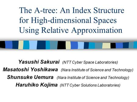 The A-tree: An Index Structure for High-dimensional Spaces Using Relative Approximation Yasushi Sakurai (NTT Cyber Space Laboratories) Masatoshi Yoshikawa.