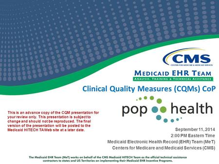 Clinical Quality Measures (CQMs) CoP